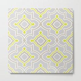 Moroccan Vibes   Bohemian Eclectic Pattern   Gray Metal Print