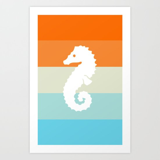 Out At Sea Series - Seahorse Sunset Art Print
