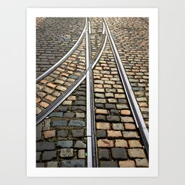 Rails and Cobbles Art Print