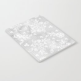Beautiful Gray & White Floral Lace Pattern Notebook