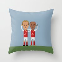arsenal Throw Pillows featuring Bergkamp and Henry in Arsenal by 8bit Football