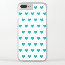 Polka dot hearts - turquoise Clear iPhone Case