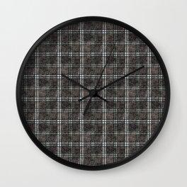 Plaid tartan black, grey. Wall Clock
