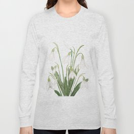 white snowdrop flower watercolor Long Sleeve T-shirt