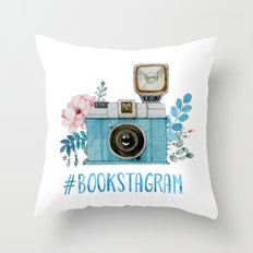 Blue Bookstagram Throw Pillow