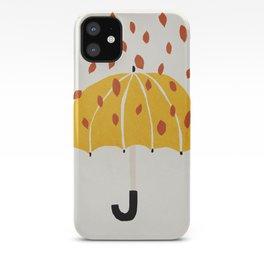 Umbrella, Autumn, Mid century modern kids wall art, Nursery room iPhone Case