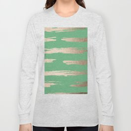 Abstract Paint Stripes Gold Tropical Green Long Sleeve T-shirt