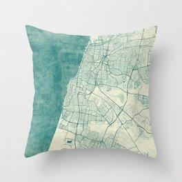 Tel Aviv Map Blue Vintage Throw Pillow