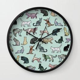Cats shaped Marble - Mint Green Wall Clock