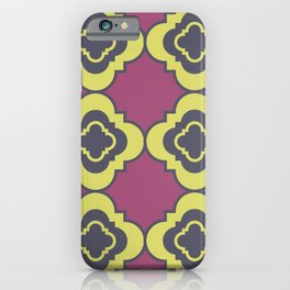 Quatrefoil - mauve, blue and yellow iPhone Case