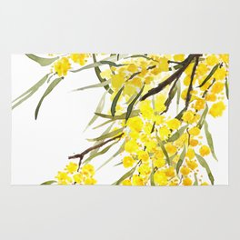 Godlen wattle flower watercolor Rug