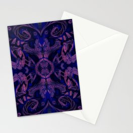Curves & lotuses, abstract pattern, ultra-violet Stationery Cards