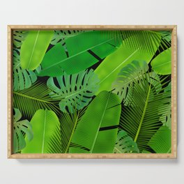 Mix Tropical Leafs mashup pattern Serving Tray