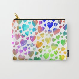 Watercolor Hearts Carry-All Pouch
