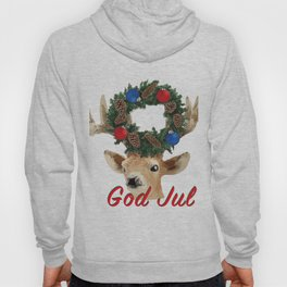 God Jul Deer with Christmas Wreath Hoody