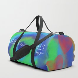 Alone doesn't mean lonely yoga pose Duffle Bag