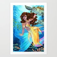daunt Art Prints featuring Hawaiian Mermaid by Daunt