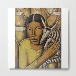 Alfredo Ramos Martínez (1872-1946) GIRL WITH BADGER Metal Print