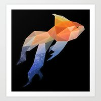 low poly Art Prints featuring Low Poly Fantail Goldfish  by The animals moved to - society6.com/dian