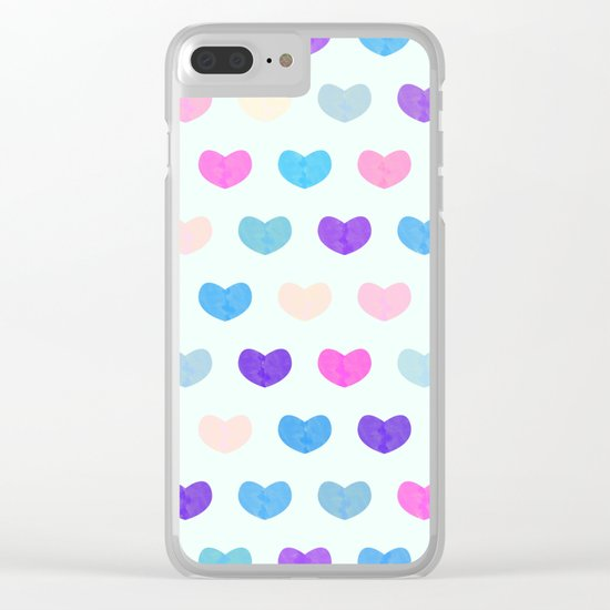 Colorful Cute Hearts II Clear iPhone Case