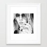 alisa burke Framed Art Prints featuring Alisa smoking by donotseemeart