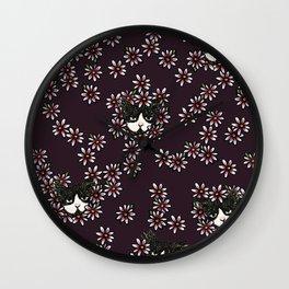 Gardener Tuxedo Cat Wall Clock