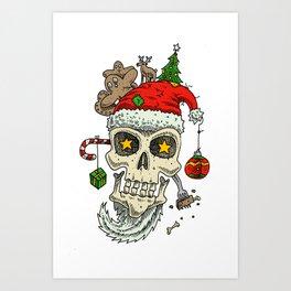 Christmas Skull  Art Print