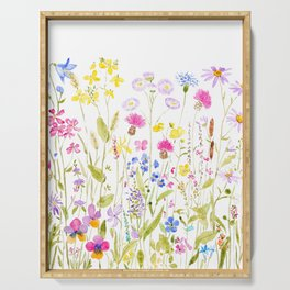 botanical colorful wildflower garden watercolor painting horizontal Serving Tray