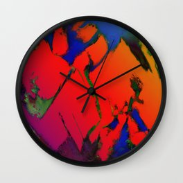 Colliding panels red Wall Clock