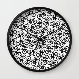 Black Bikes Pattern Wall Clock