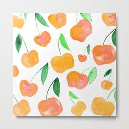 Watercolor cherries - orange and green Metal Print