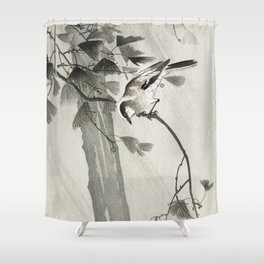 Bird in forest - Japanese vintage woodblock print Shower Curtain