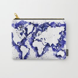 Watercolor splatters world map in navy blue Carry-All Pouch