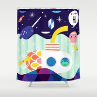 submarine Shower Curtains featuring Frog Driven Submarine by Crowded Teeth