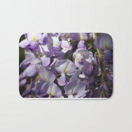 Close Up Of Lavender Wisteria Blossom Bath Mat