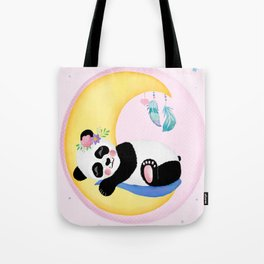 Baby Panda Girl with Moon and Dreamcatcher Tote Bag