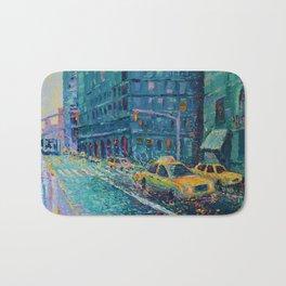 Rainy Day in New York - Palette Knife urban art city landscape by Adriana Dziuba Bath Mat
