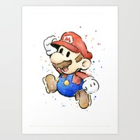 mario Art Prints featuring Mario Watercolor by Olechka