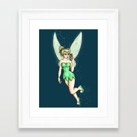 tinker bell Framed Art Prints featuring Tinker Bell Selfie by Hungry Designs