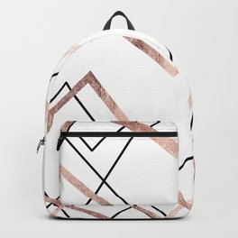 Rose Gold White Linear Triangle Abstract Pattern Backpack