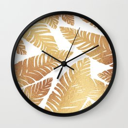 Glam Leaves Wall Clock