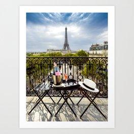 Eiffel Tower Paris Balcony View Art Print