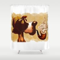 the hound Shower Curtains featuring Sherlock Hound by Eileen Marie