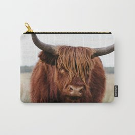 Close up of a Wild Scottish Highlander cow in national park | Cattle in Nature | Veluwe park, the Netherlands | Travel photography Carry-All Pouch