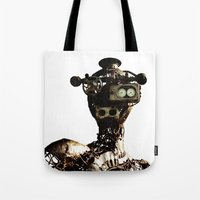 robot Tote Bags featuring robot by Кaterina Кalinich