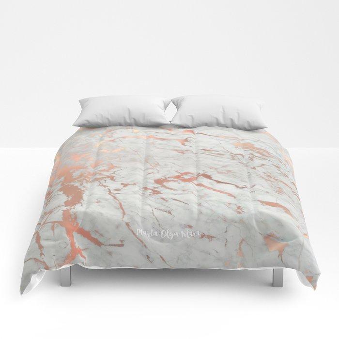 Rose Gold Marble Comforters By Martaolgaklara Society6