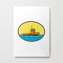 River Tugboat Oval Woodcut Metal Print
