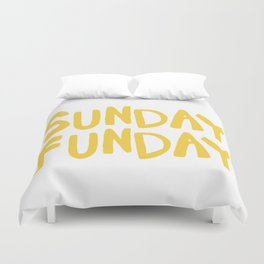 Sunday Funday - yellow hand lettering Duvet Cover