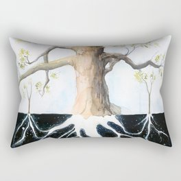 Underneath, Mother Tree and Seedlings, Surreal Illustration Rectangular Pillow