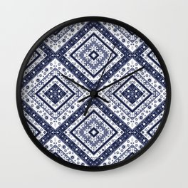 Strict , white blue ornament. Wall Clock
